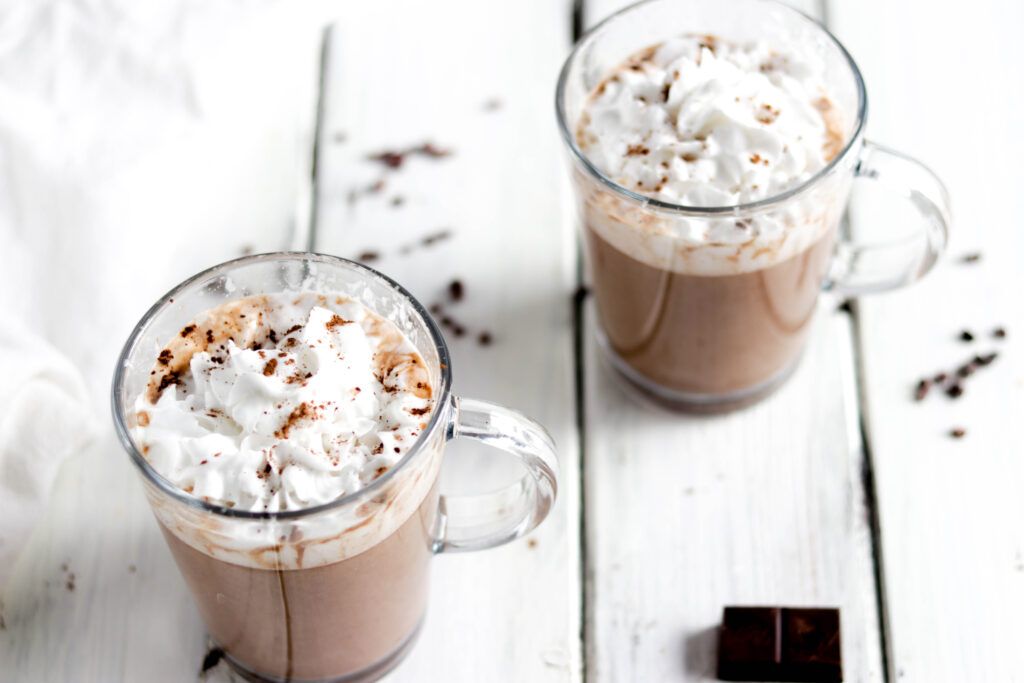 Dairy Free Peanut Butter Hot Chocolate; a delicious healthy hot chocolate recipe that is dairy-free and vegan friendly! Made with almond milk and real chocolate goodness! Sweetened with natural sugars from maple syrup! #hotchocolate #veganhotchocolate