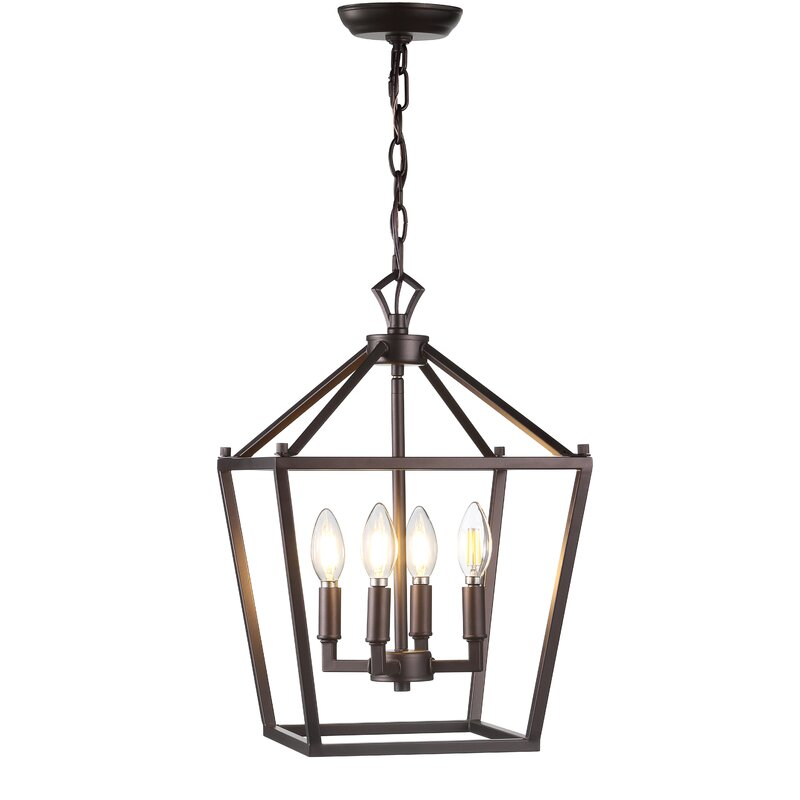 Farmhouse living room on a budget; black chandelier from Wayfair