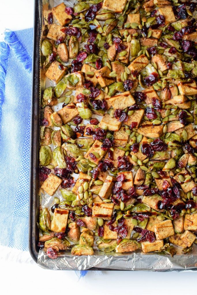 Sheet Pan Meals for Fast Weight Loss; Tofu cranberry Brussel sprouts