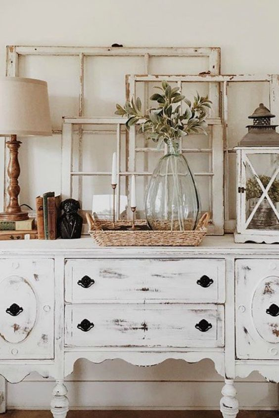 FarmHouse Living Room on a Budget; antiques, white dresser, old window frames