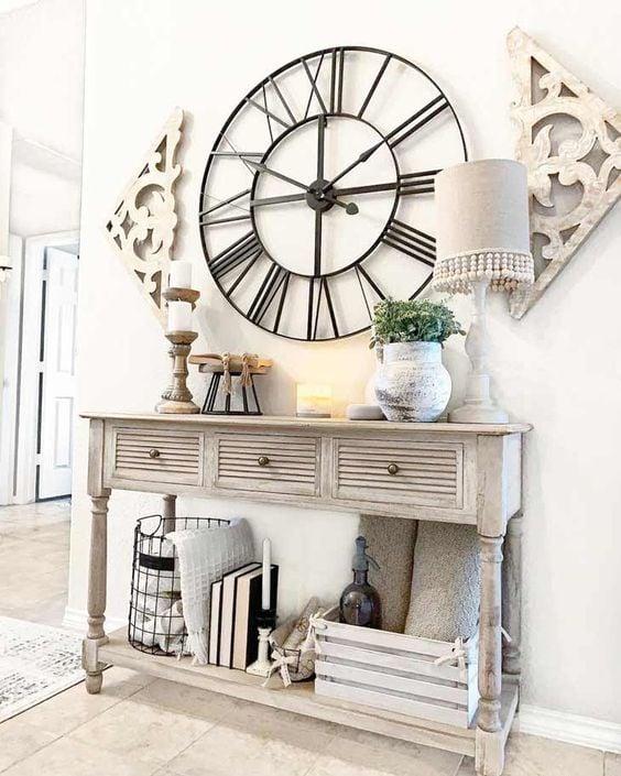 Large clock, black clock, antique clock; Farmhouse Wall Decor Ideas