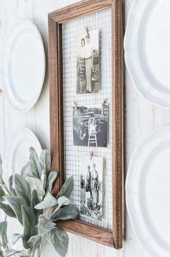 Antique frame, chicken wire; Farmhouse Wall Decor Ideas