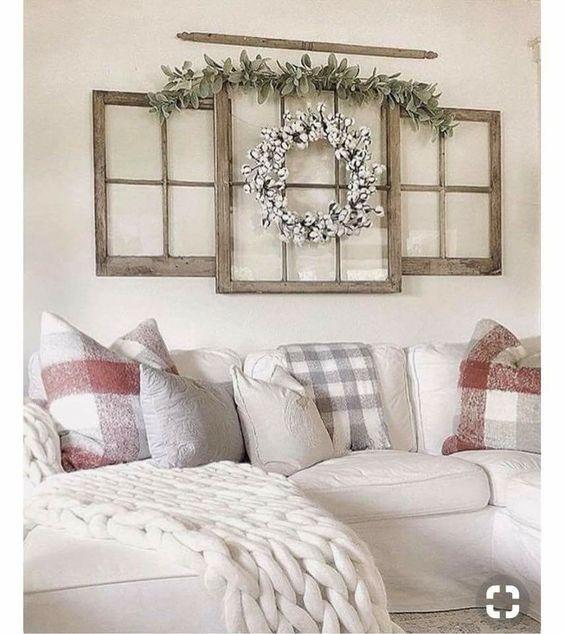 Antique window frames wall decoration with greenery; Farmhouse Wall Decor Ideas