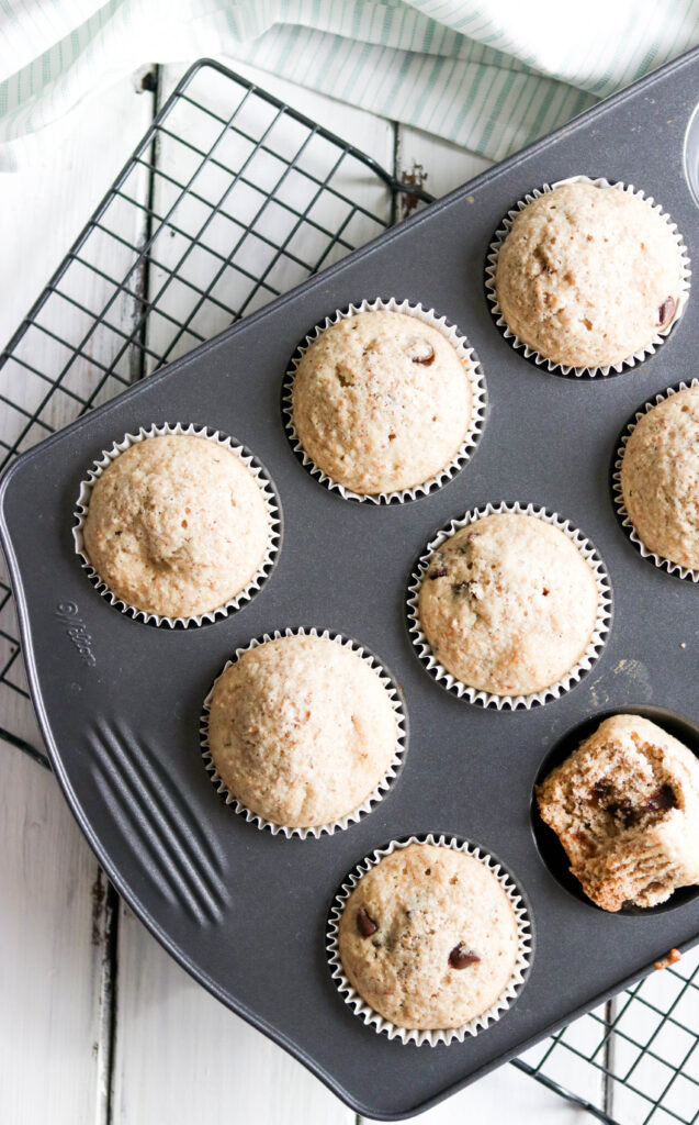These Low Fat Chocolate Chip Banana Muffins are healthy, fluffy, naturally sweetened and bursting with banana and chocolate chip flavour! Enjoy a muffin for breakfast without all the added calories!