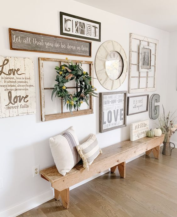Gallery Wall with antiques; Farmhouse Wall Decor Ideas