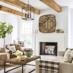 wood beams, white fireplace; Farmhouse Wall Decor Ideas