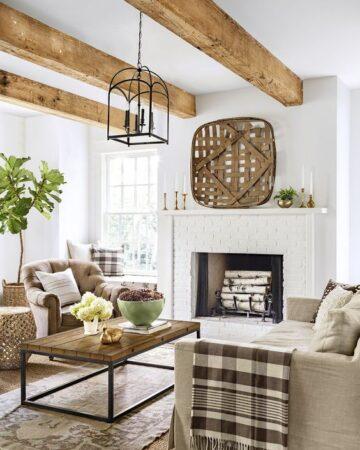 wood beams, white fireplace; Farmhouse Wall Decor Ideas
