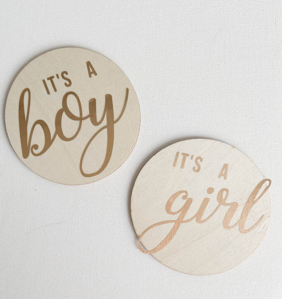 """DIY Wooden Birth Announcement Signs; Wood discs with """"It's A Boy"""" and """"It's A Girl"""". Made with Cricut machine but can be made without!"""