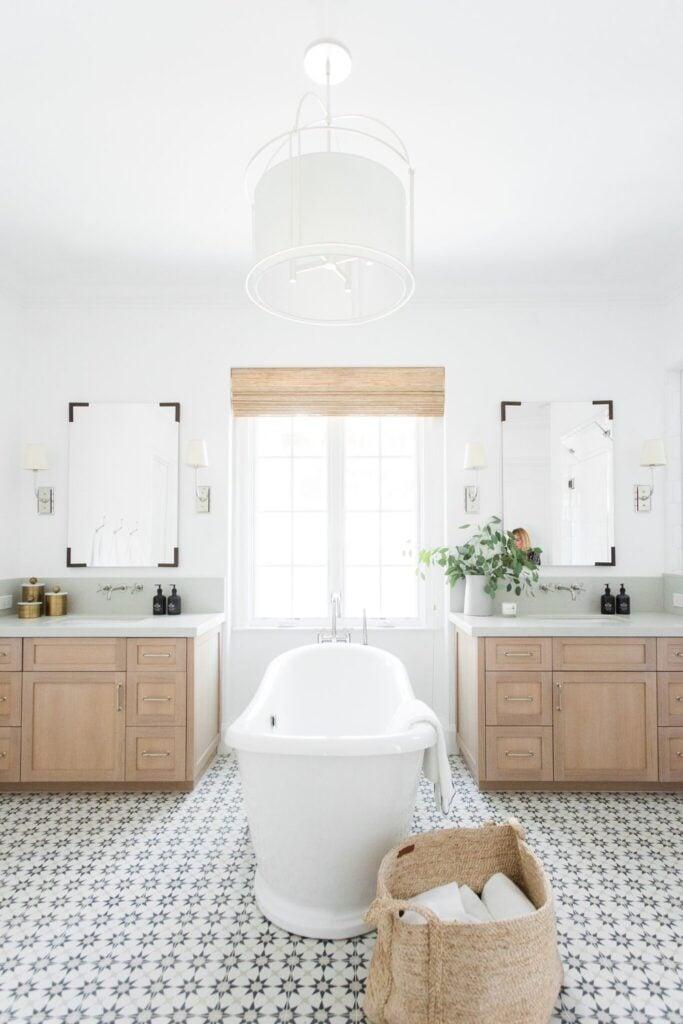 Bathrooms by Studio McGee; oak vanity, pine vanity, white bathroom, marble, geometric tile