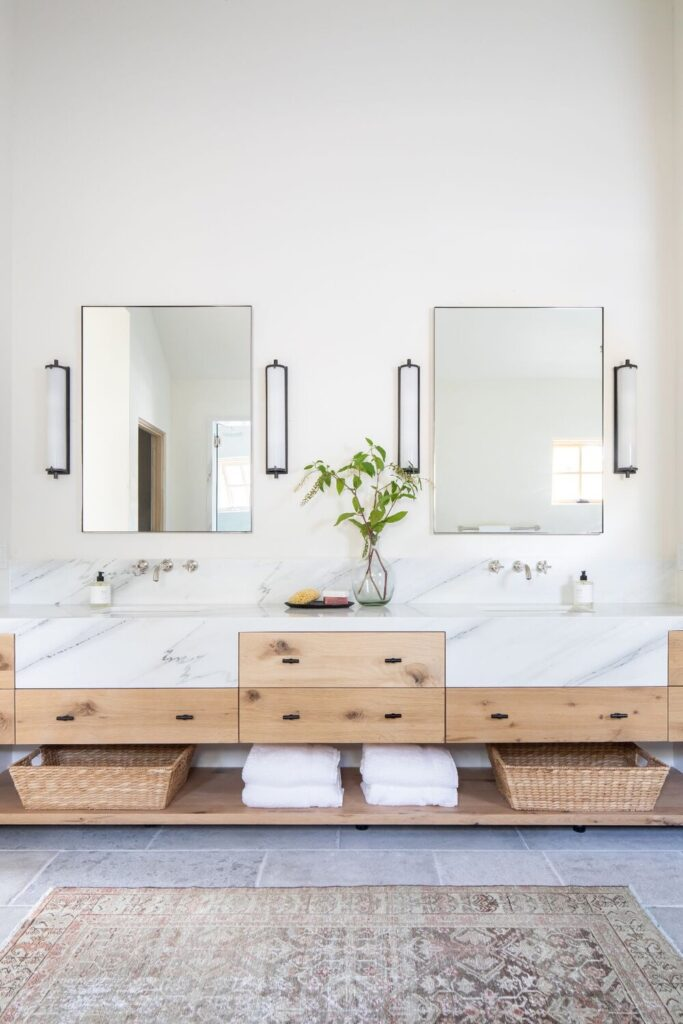 Oak vanity, square mirror, marble countertops, white bathroom, minimalist bathroom; Studio McGee Bathrooms