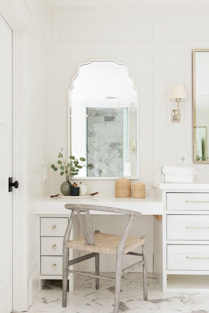 Bathrooms by Studio McGee; white vanity, girly, marble