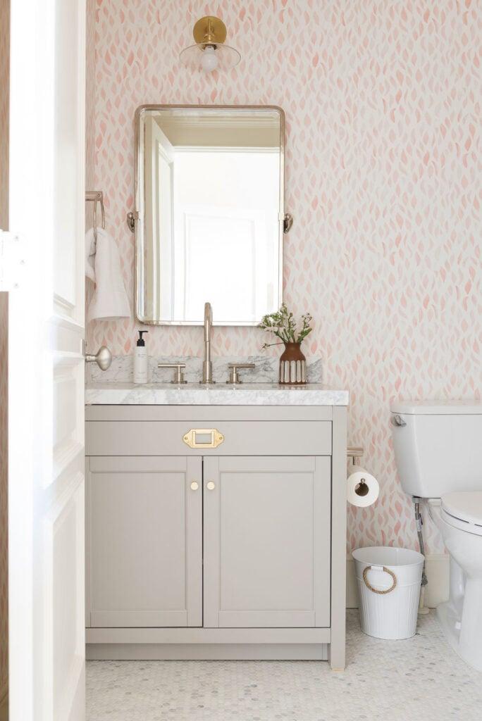 Bathrooms by Studio McGee; pink bathroom, small bathroom