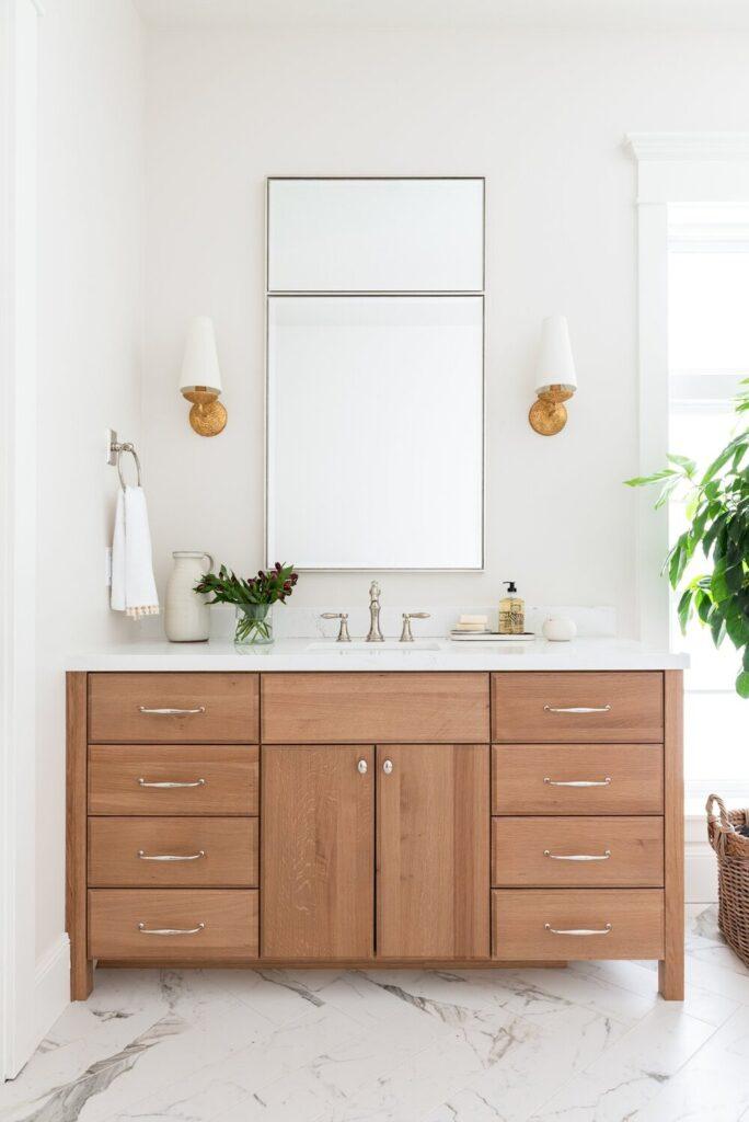 Bathrooms by Studio McGee; Pine vanity, white bathroom