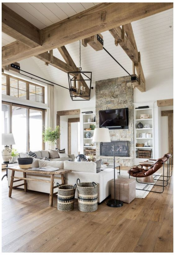 Modern Farmhouse Design Must haves: wood beams, stone fireplace
