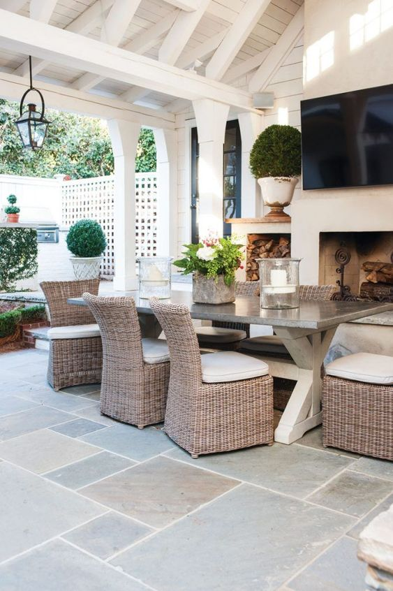 Tips for Styling your Deck this Summer; dining furniture, outdoor table and chairs, outdoor fireplace, green blue tile