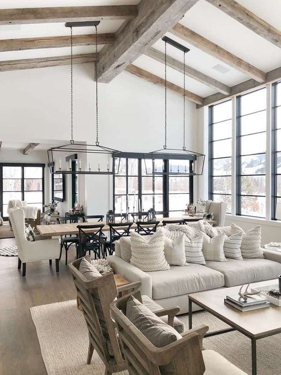 Modern Farmhouse Design Must haves: open concept, living room, dining room, large window, family room
