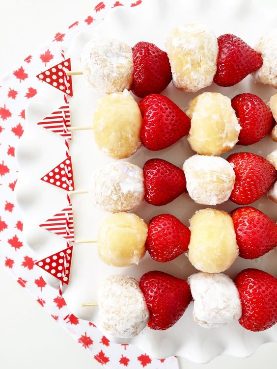 Canada Day Food Ideas - kebabs, fruit, red and white
