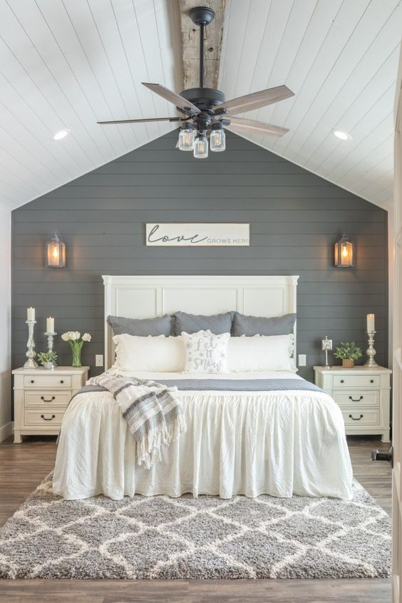 Modern Farmhouse Design Must haves: shiplap, bedroom, linen, candles, blue shiplap, blue accent wall