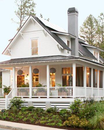 White Modern Farmhouse Exterior, wrap around porch, small windows