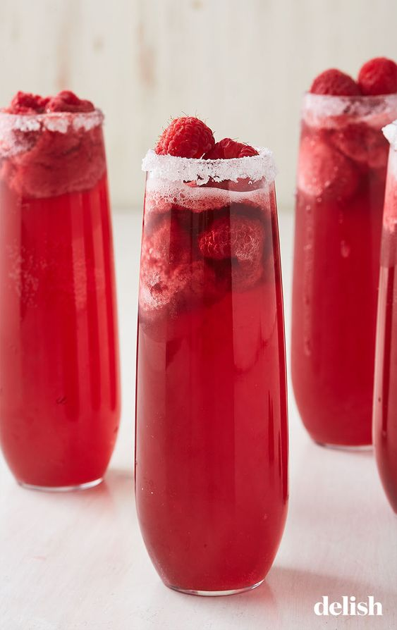Canada Day Food Ideas: Recipes and Drinks - red raspberry mimosa