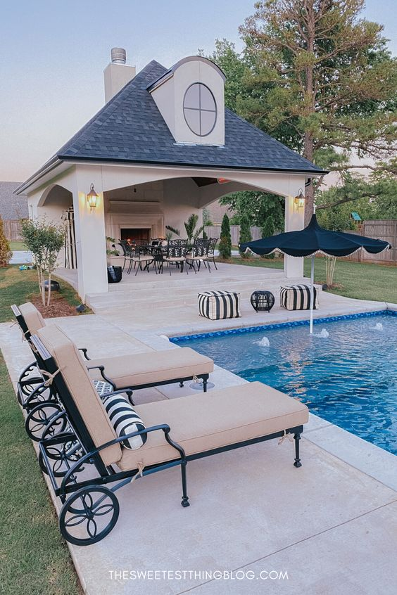 large open pool house, outdoor living, pool side, backyard pool shelter