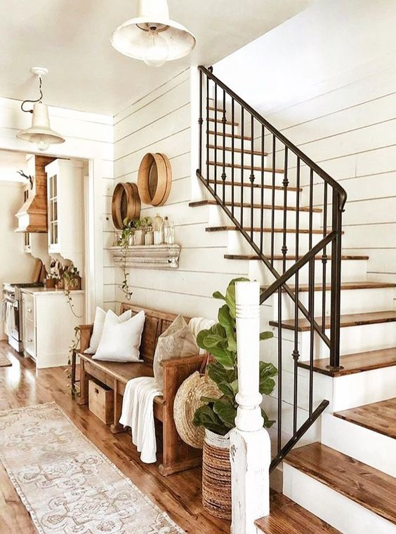 Modern Farmhouse Design Must haves: rustic decor, staircase, white shiplap, entry way, entryway storage ideas