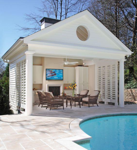 white open pool house, pavilion style