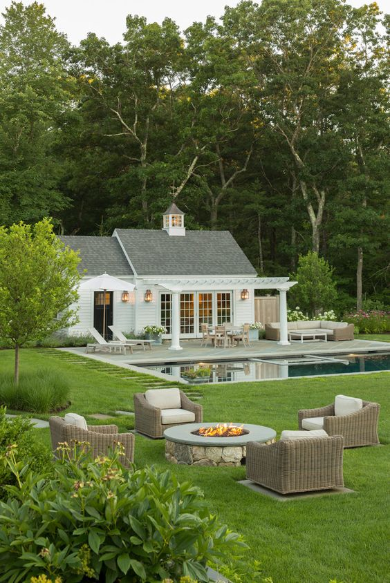 large open pool house, outdoor living, pool side, backyard pool shelter, white pool house