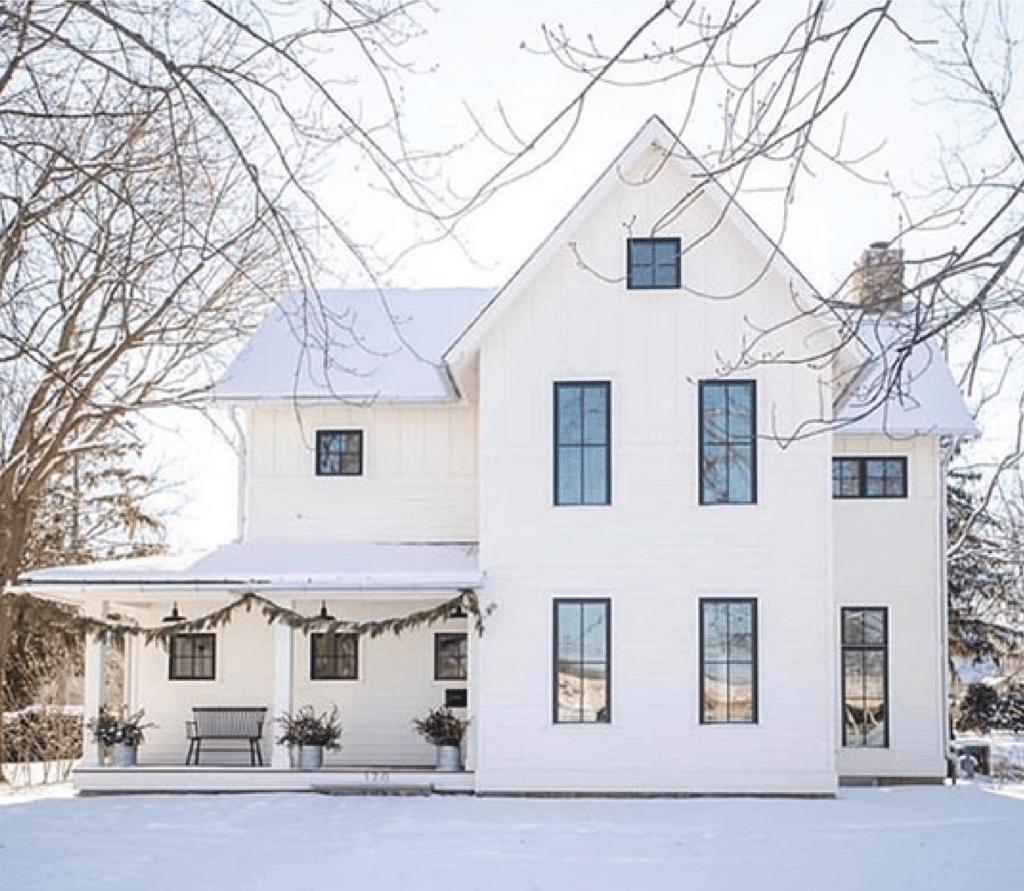 white modern farm house, black trim windows, large front porchwhite modern farm house, black trim windows, large front porch