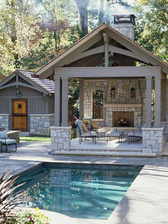 large open pool house, outdoor living, pool side, backyard pool shelter, white pool house, stone