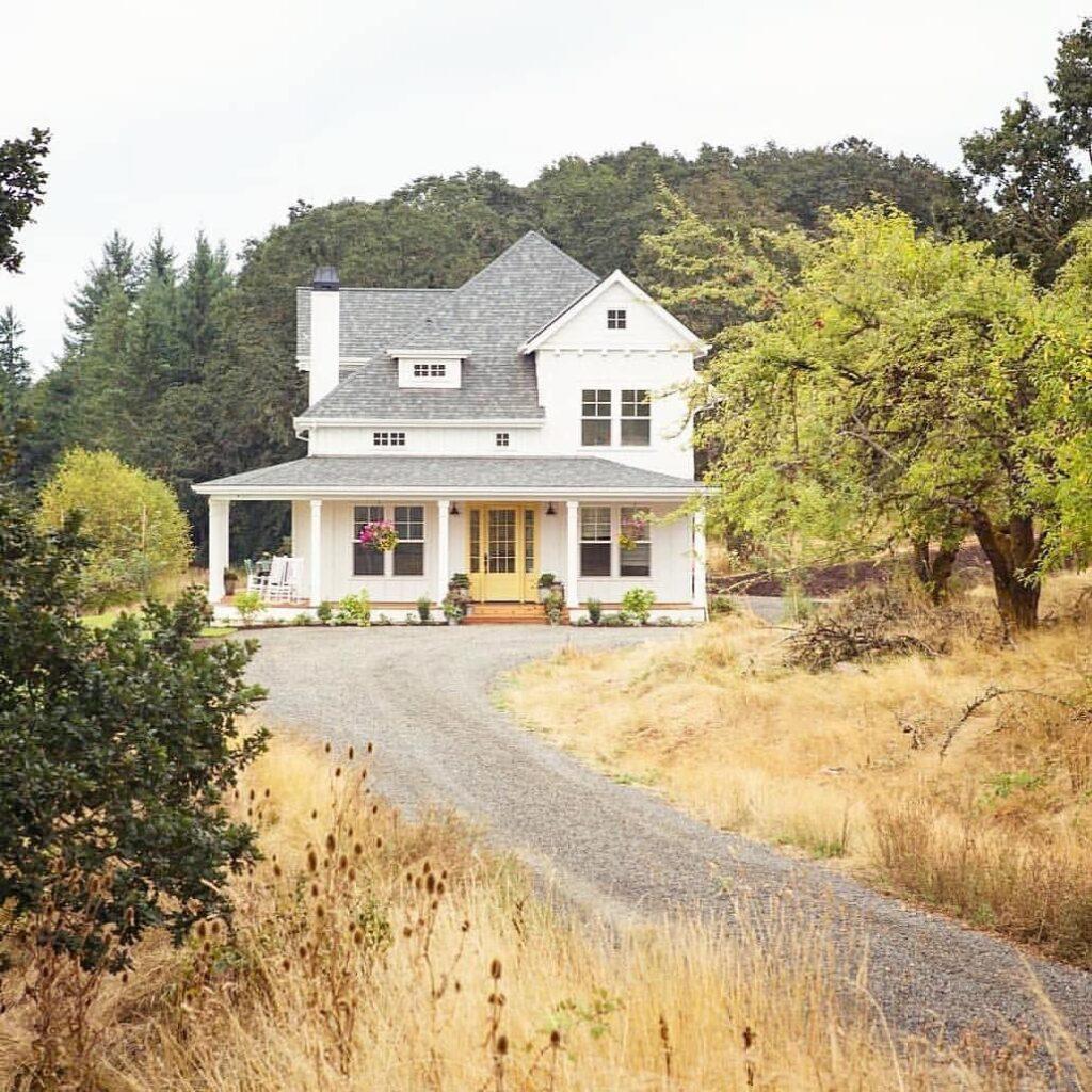 Old White Modern Farmhouse Exterior, long driveway, wrap around porch