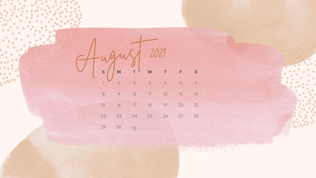 August 2021 calendar desktop background