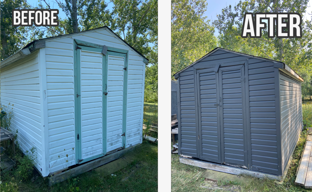 Before and After: Quick Backyard Shed Makeover! Iron Ore by Sherwin Williams