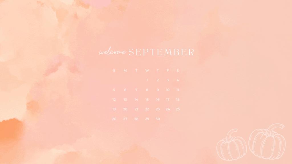 Free September 2021 Desktop Calendar Background with pinks, orange and pumpkins