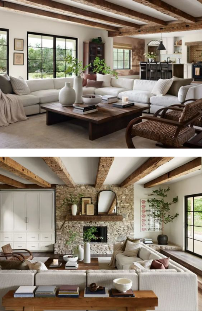 Best NEW Living Rooms by Joanna Gaines from Fixer Upper; rustic living, Mediterranean decor, white sectional, wood beams, arched door