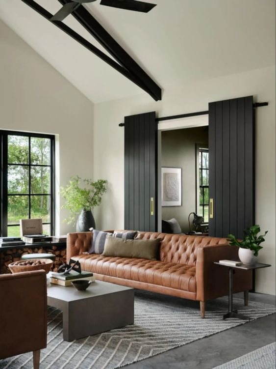 Best NEW Living Rooms by Joanna Gaines from Fixer Upper; leather couch, barn doors, black beam