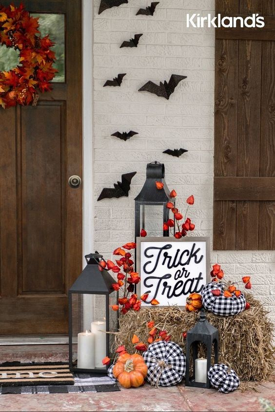 Fall Porch Decor Must Haves; lanterns, bats, trick or treat