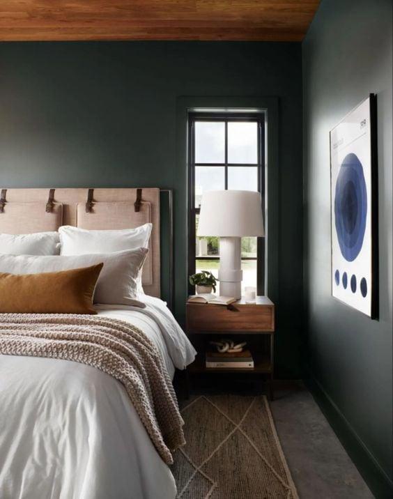 Best NEW bedrooms by Joanna Gaines from Fixer Upper; dark bedroom, moody bedroom, green and pink