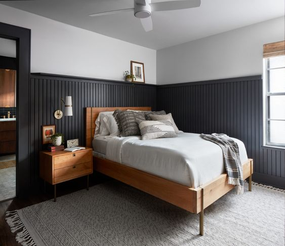 Best NEW bedrooms by Joanna Gaines from Fixer Upper; navy blue bedroom,