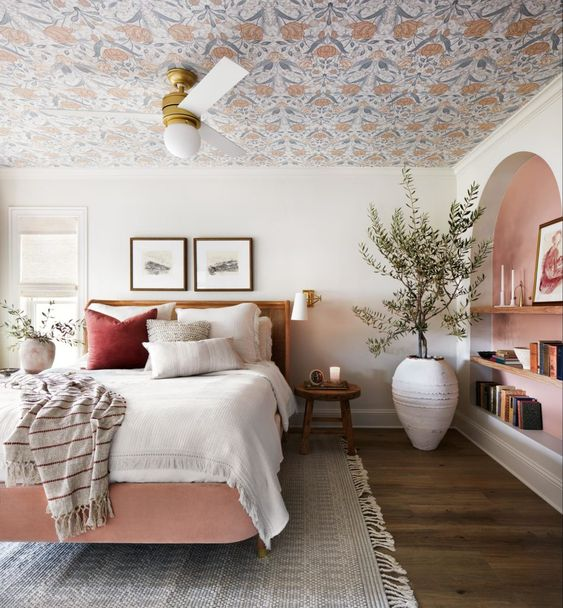 Best NEW bedrooms by Joanna Gaines from Fixer Upper; pink bedroom, pink bed, girly master bedroom, large olive tree