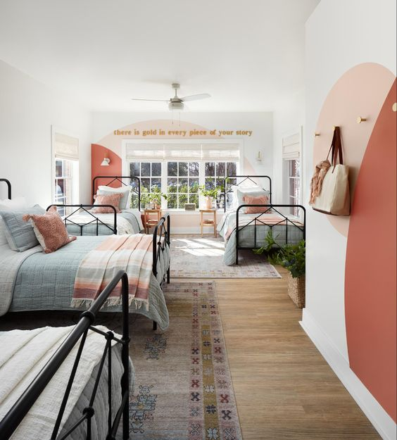 Best NEW bedrooms by Joanna Gaines from Fixer Upper; girls room, girly room, twin, triplet girls