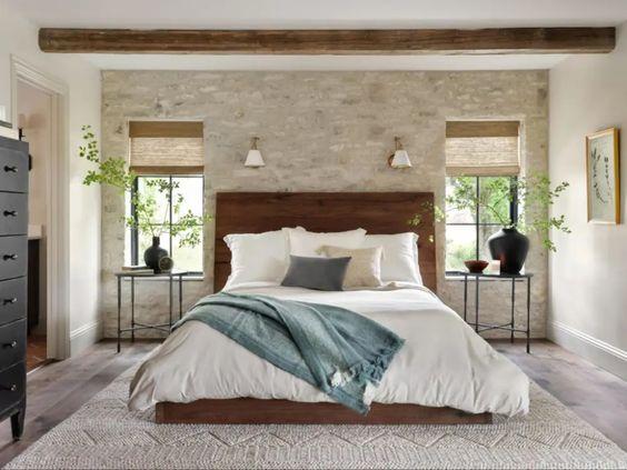 Best NEW bedrooms by Joanna Gaines from Fixer Upper; med bedroom, wood beams, dark wood bed