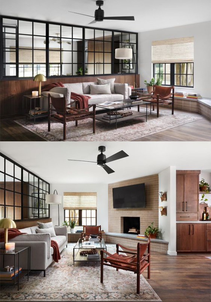 Best NEW Living Rooms by Joanna Gaines from Fixer Upper; dark grey fireplace, shiplap, leather couch, shelves, wood accents